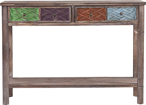 Southern Enterprises Dharma Console Table, White Washed Weathered Fir with Multicolor Finishes