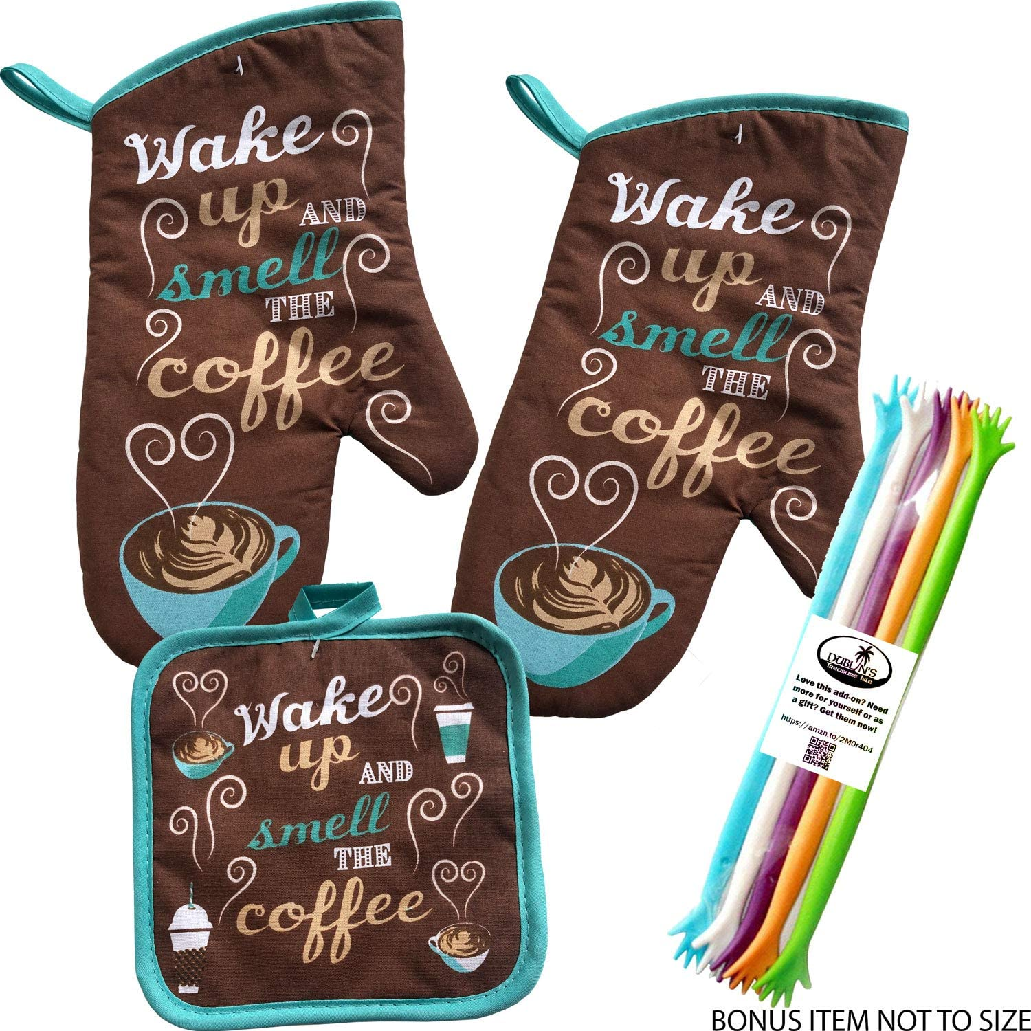 Home Collection Dublin's Treasure Isle Wake Up and Smell The Coffee Kitchen Oven Mitt Pot Holder Set Includes 2 Mitts and 2 Hot Pads (Wake Up)