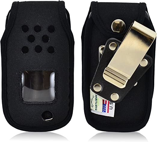 Turtleback Samsung Rugby 4 Flip téléphone portable Drap-housse Coque – fabriqué aux États-Unis (en nylon Noir/rotatif Clip en Métal)