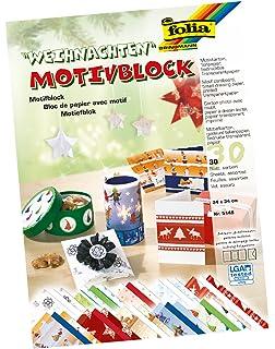 15 Farben mehrfarbig Folia Prägekarton Block Weihnachten 24x34cm 30 Bogen