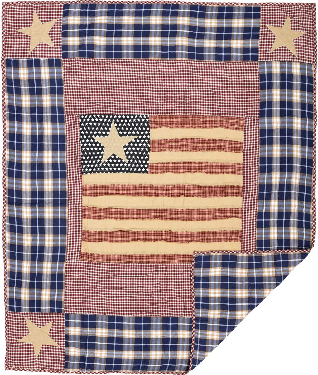 VHC Brands Classic Country Americana Pillows Throws – Independence Red Quilted Throw