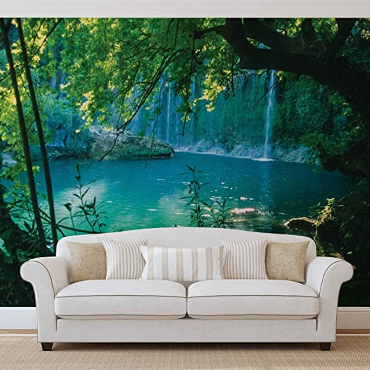 Tropical Waterfall Lagoon Forest - Photo Wallpaper - Wall Mural -  EasyInstall Paper - Giant Wall