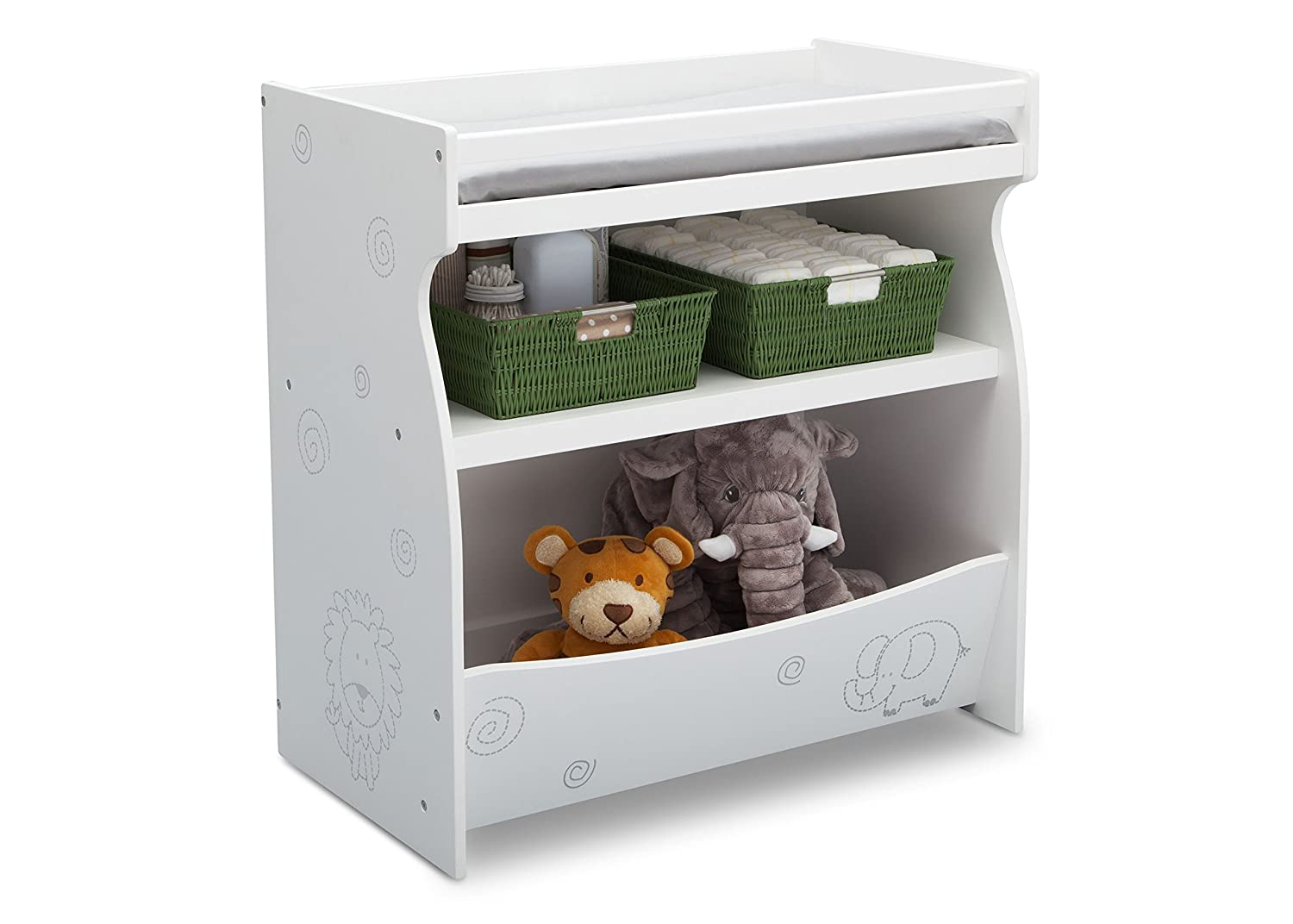 Bianca White with Animal Motif Delta Children 2-in-1 Changing Table and Storage Unit