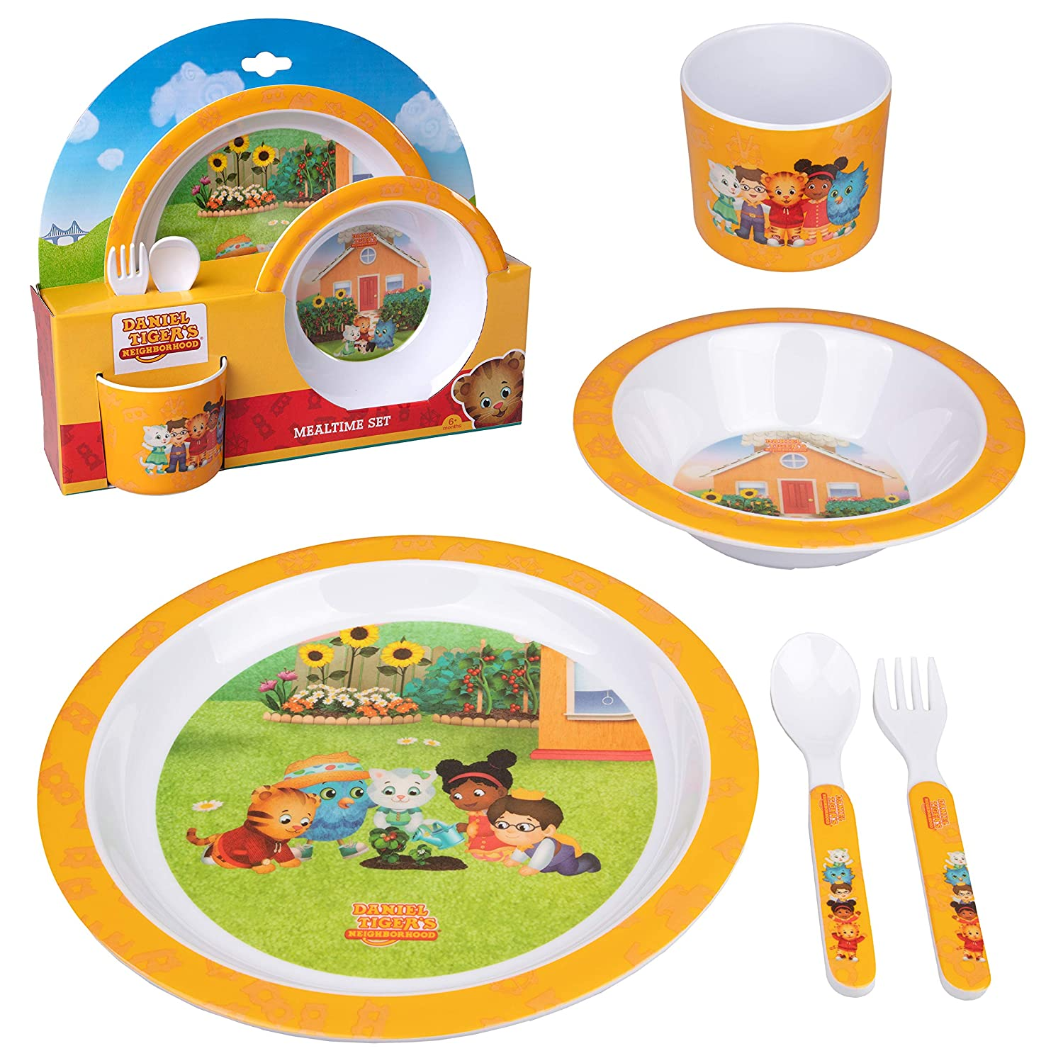 Daniel Tiger 5 Pc Kids Plates Mealtime Feeding Set for Toddlers- BPA Free Dinnerware Dish Set and Utensils Includes Plate, Bowl, Cup, Fork and Spoon w Durable Dishwasher Safe Plastic Flatware (Yellow)