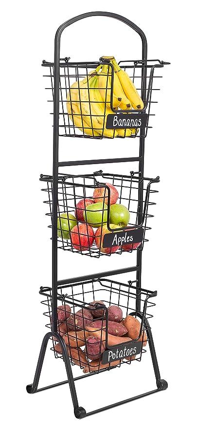 amazon com birdrock home 3 tier wire market basket stand with chalk rh amazon com