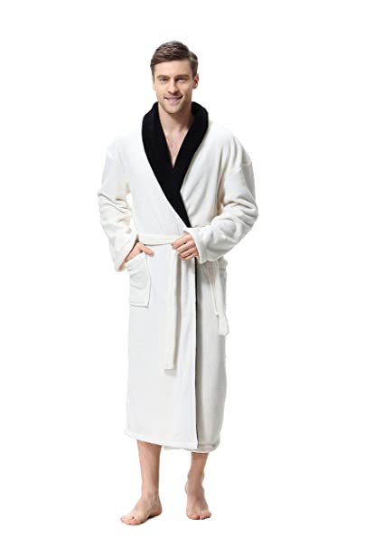 873dadb4b3e COSMOZ® Premium Bathrobe for Men Soft Coral Fleece Dressing Gown  Amazon.co. uk  Clothing