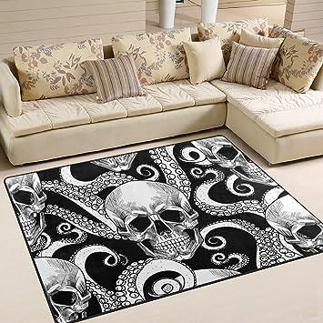 Cpyang Totenkopf Und Octopus Tentakeln Rechteck Bereich Teppiche Foto  Custom Rutschfest Moderne Teppiche Für Wohnzimmer Große