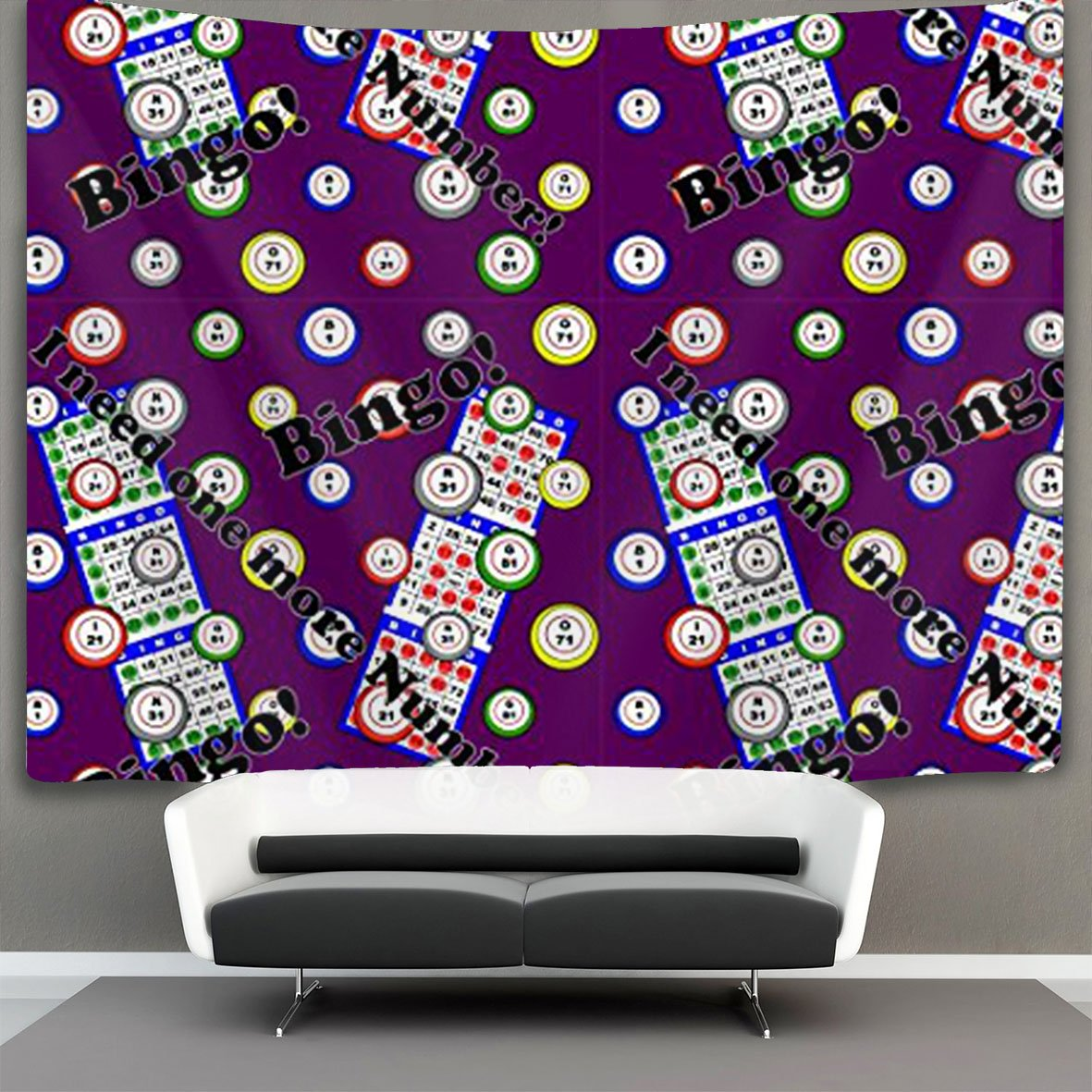 JACINTAN NEW Bingo I Need One More Number Wall Hanging, Psychedelic Wall Art, Dorm D¨¦cor Beach Throw, Indian Wall Tapestries Art 50 x 60 Inches