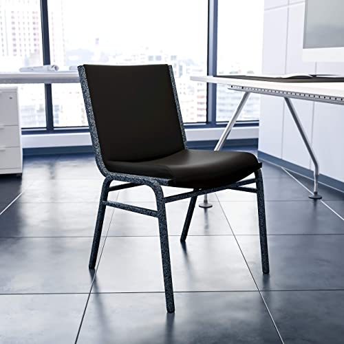 Flash Furniture Black Vinyl Stack Chair
