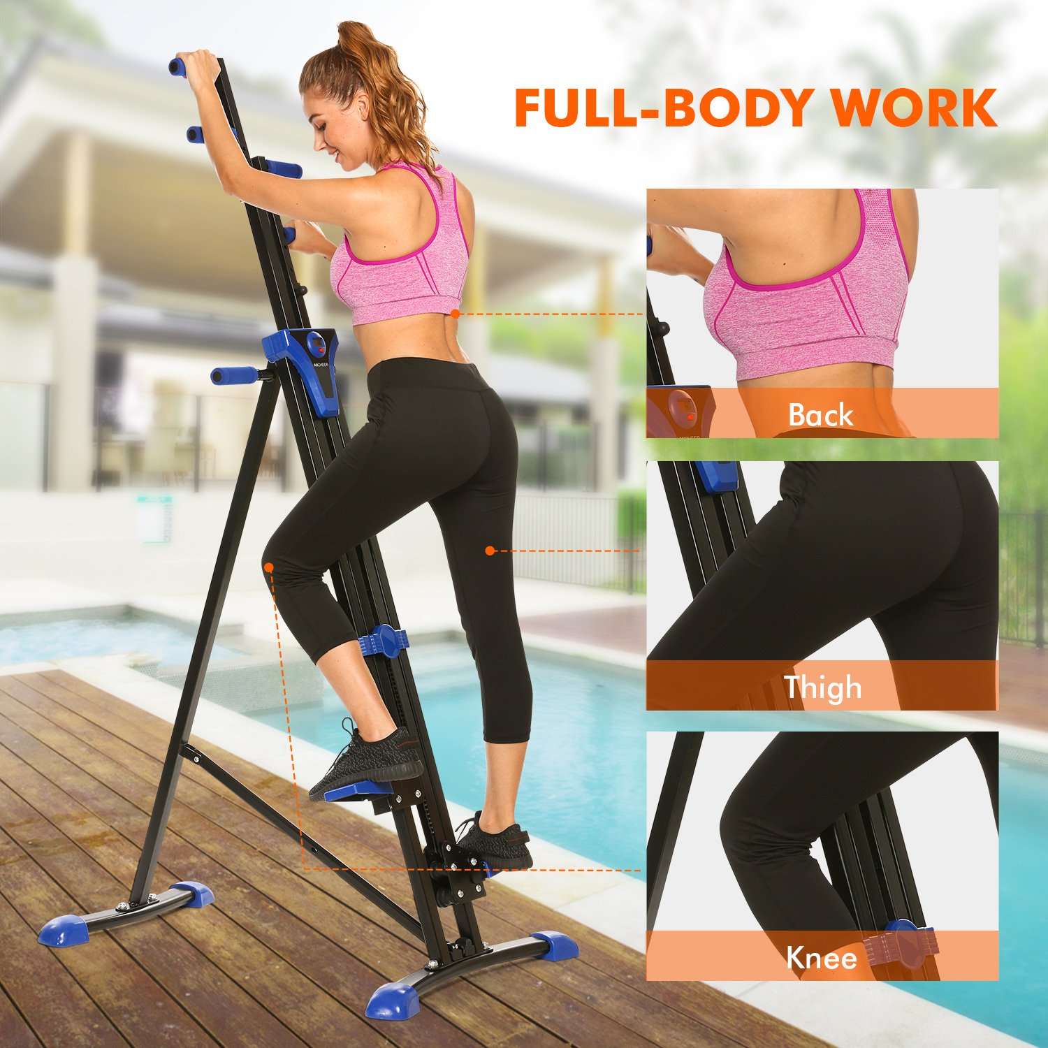 ANCHEER Vertical Climber Folding Exercise Climbing Machine, Exercise Equipment Climber for Home Gym, Exercise Bike for Home Body Trainer (Blue - only Climber) by ANCHEER (Image #4)