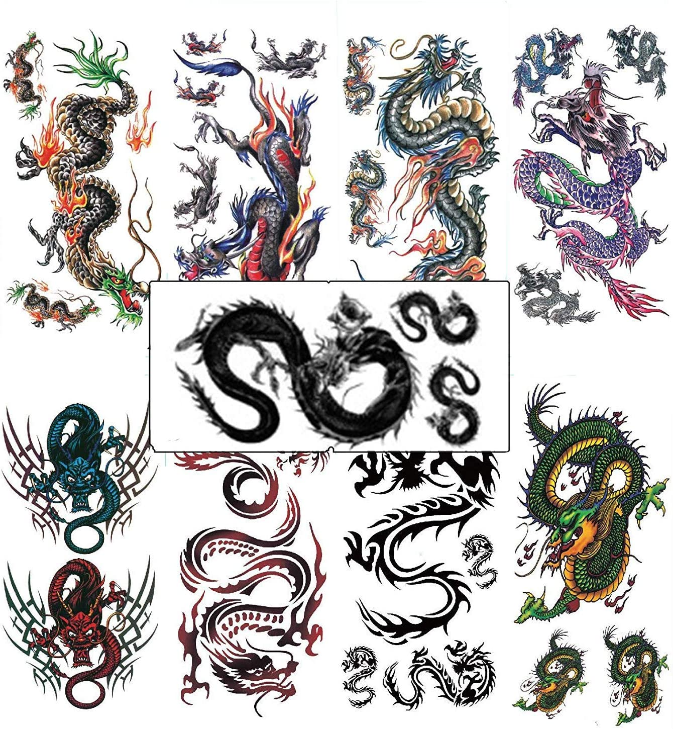 Amazon Com Assorted 9 Sheets Temporary Dragon Tattoos Chinese