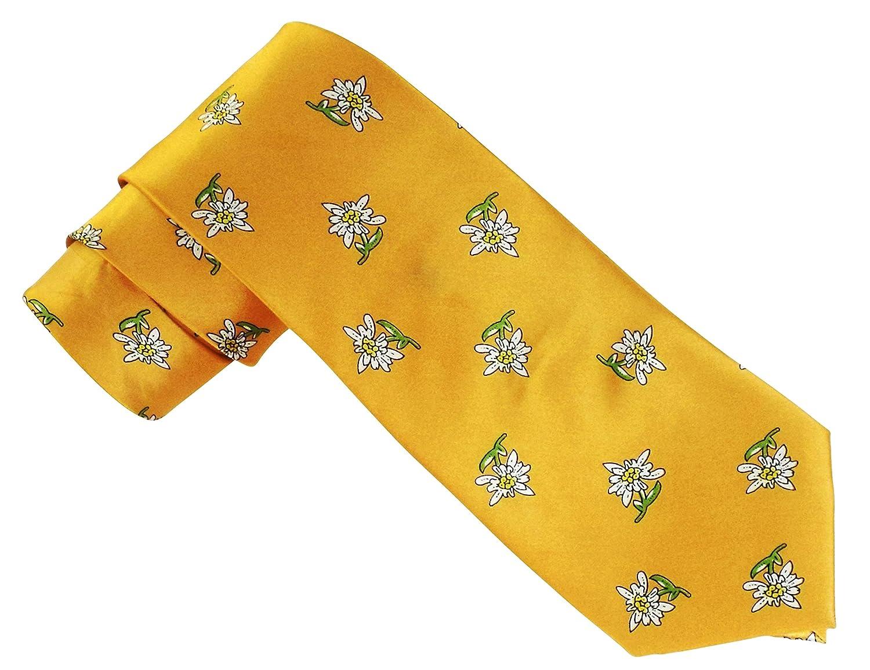 Edelweiss Trachtenkrawatte in Gelb - ideal für das Oktoberfest