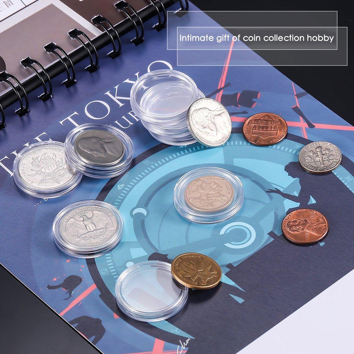 LegendTech 200 Pezzi Capsule di Monete Rotondo Portamonete Plastica Forniture per Raccolta di Monete Scatola DellOrganizzatore Moneta Commemorativa Custodia di Protezione 27 mm