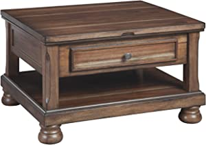Signature Design by Ashley - Flynnter Lift-Top Cocktail Table w/ Storage, Medium Brown
