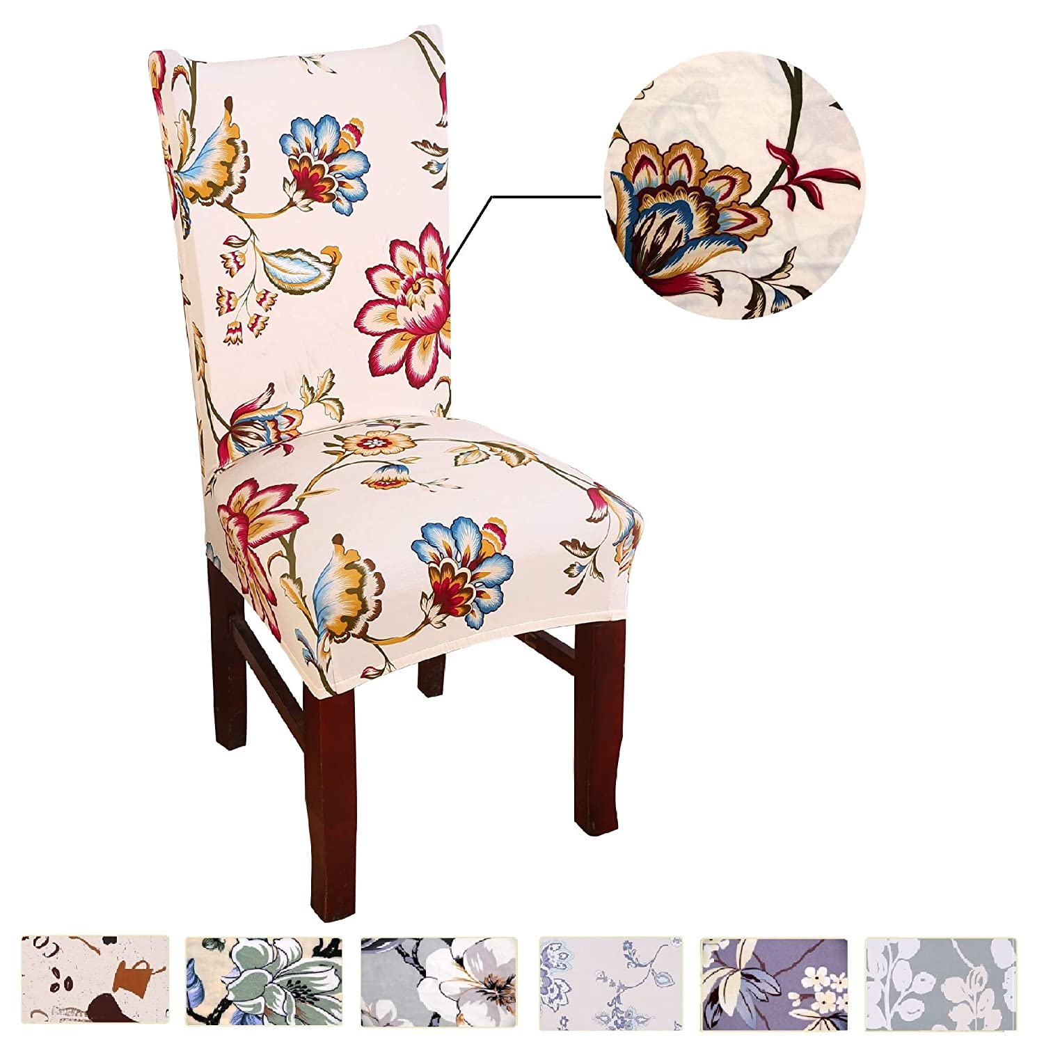 2pcsのための椅子カバーダイニングルームSpendex Slipcovers Spring Flower Design by argstar MKMY171002Hc  Type H B0785VVDDQ