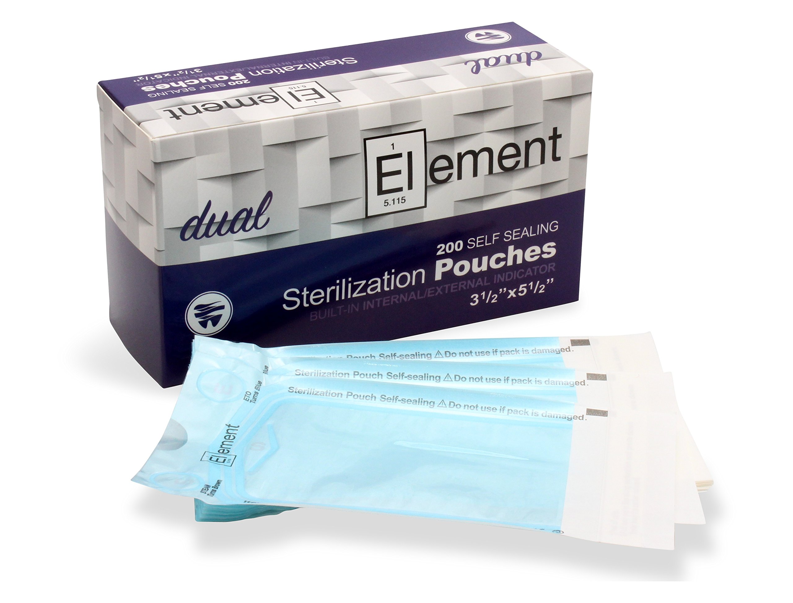 ELEMENT - Self Seal - Dual Indicator Sterilization Pouches - 3.5 x 5.5 - Pack of 200
