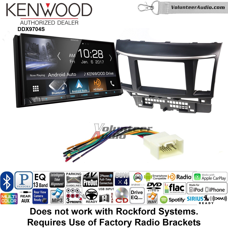 ボランティアオーディオKenwood ddx9704sダブルDINラジオインストールキットwith Apple CarPlay Android自動Fits 2008 – 2015三菱ランサー B07BZXF4P6