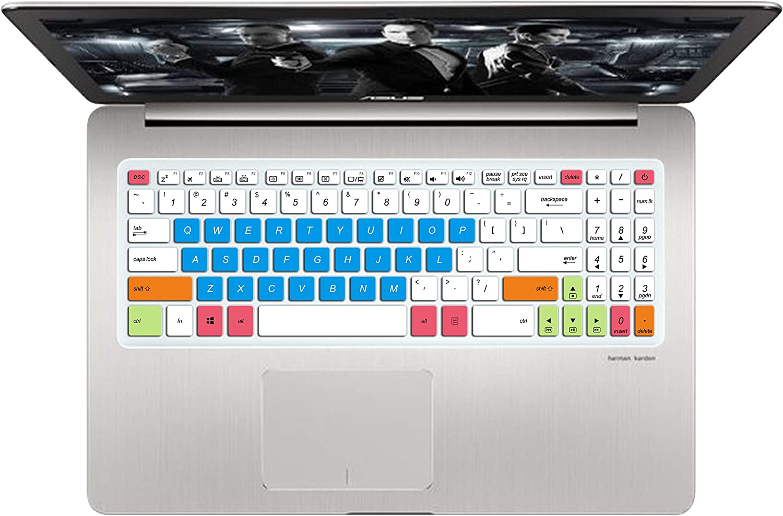 "Leze - Ultra Thin Keyboard Cover Skin Compatible with 15.6"" ASUS VivoBook Pro N580VD, VivoBook M580VD, VivoBook K570UD Laptop - White Blue"