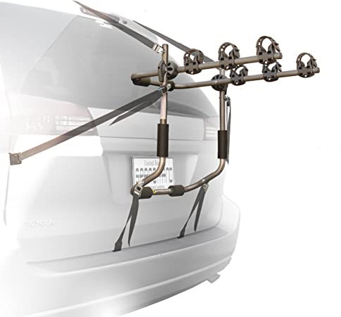 Stoneman Sports VR-648 Sparehand Trunk Mounted 3-Bike Car Rack for All Frame Types Grey Finish