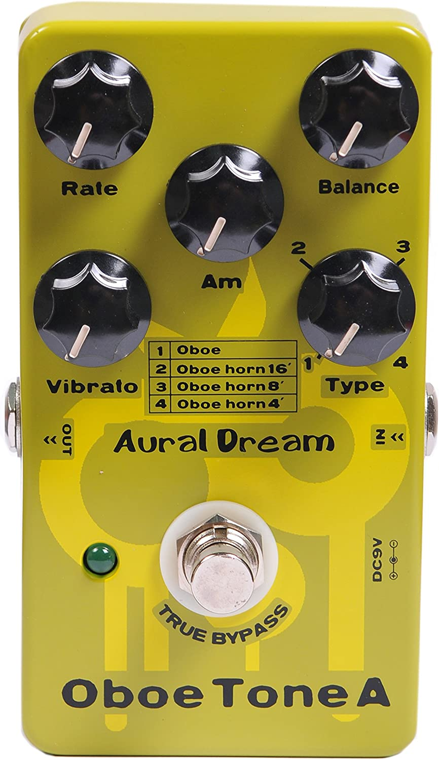 Aural Dream Oboe Tone A Synthesizer Guitar Effects Pedal based on organ including Oboe,Oboe horn 16',Oboe horn 8'and Oboe horn 4'with vibrato module control.