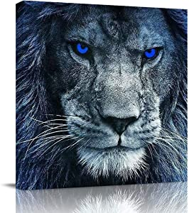 T&H XHome Wall Art Oil Paintings on Canvas Print Indignant Blue Eyes Lion Office Artwork Home Decoration Living Room Bedroom Bathroom Giclee Walls Decor,Wooden Framed Ready to Hang 12x12in