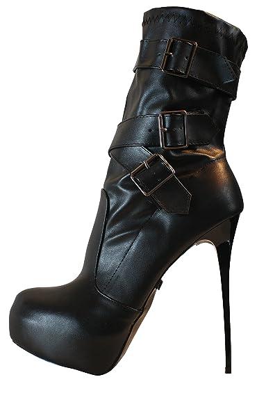 b0c706cb5a8 Erogance Simili Cuir Plateau Talons Hauts Bottines pour Femme Noir EU 36-46 a4124   Amazon.fr  Chaussures et Sacs