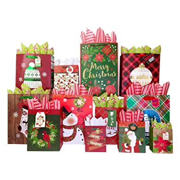 Christmas Gift Giving.Set Of Christmas Gift Bags And Tissue Paper 12 Bags Tissue Traditional Holiday