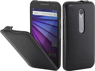 StilGut UltraSlim Case, Custodia in Pelle per Motorola Moto G, Nero