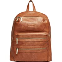 The Honest Company Stylish & Functional Leather Diaper Backpack With Zippered Pocket (Cognac)
