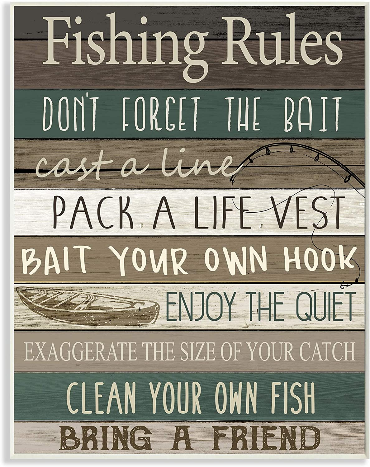 Stupell Industries Rustic Fishing Rules Sign Brown Green Beige, Design by Kim Allen Wall Plaque, 10 x 15
