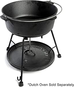 CampMaid Dutch Oven Lid Lifter, Holder & Serving Stand Cast Iron Lid Holder Keeps Dirt Off. Award Winning Design Every Dutch Oven Chef Needs.