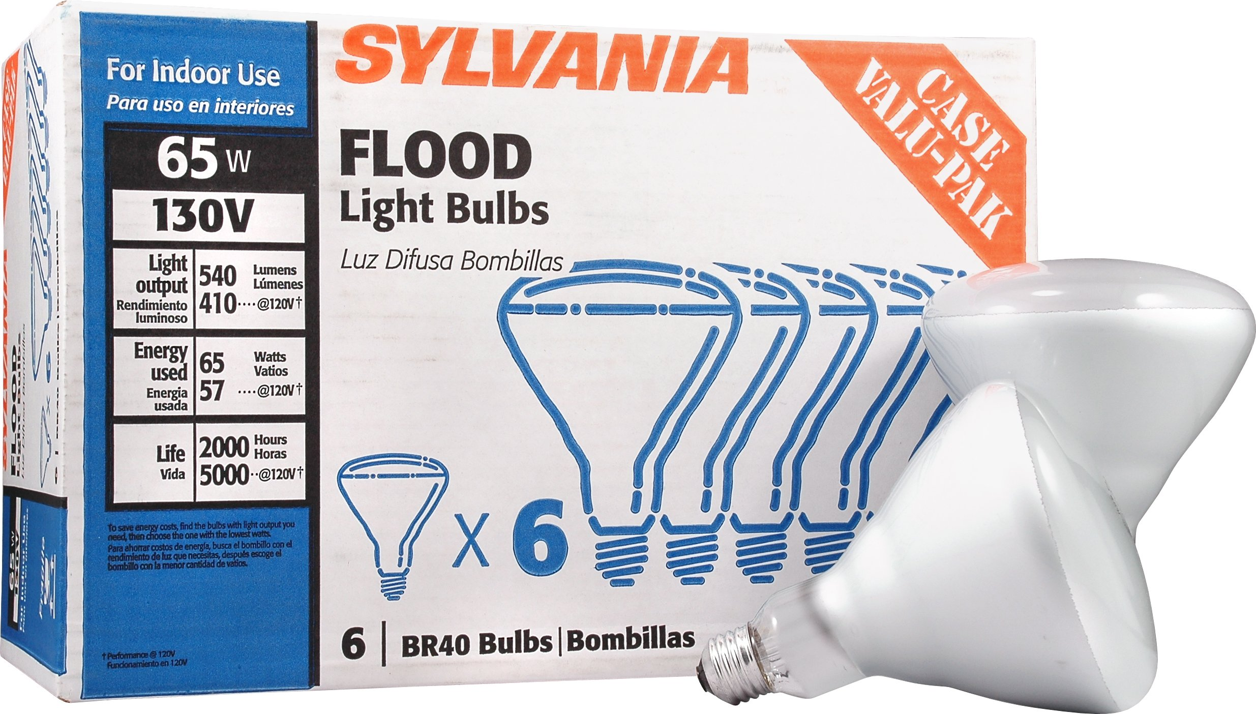 Sylvania BR40 130-Volt 65-Watt Reflector Flood Light Bulb Case Value Pack Incandescent Medium Base E26 Dimmable Light Bulb (6-Pack)