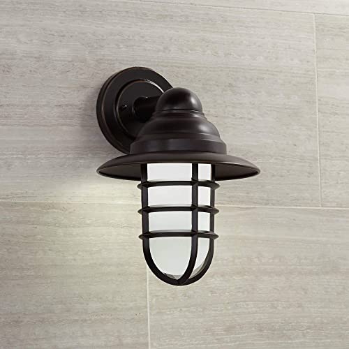 Marlowe Industrial Farmhouse Outdoor Wall Light Fixture LED Bronze 13 1/4″ Hooded Cage Frosted Gla