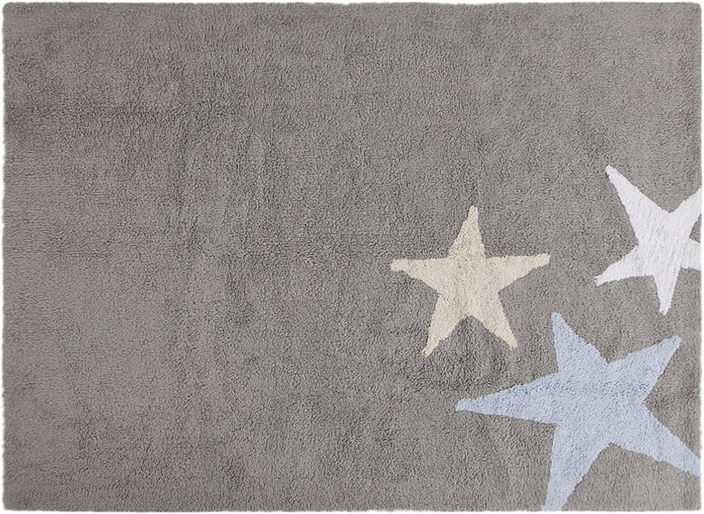 PROMOTION Tapis de sol enfant 120x160 cm Rose /étoiles blanches