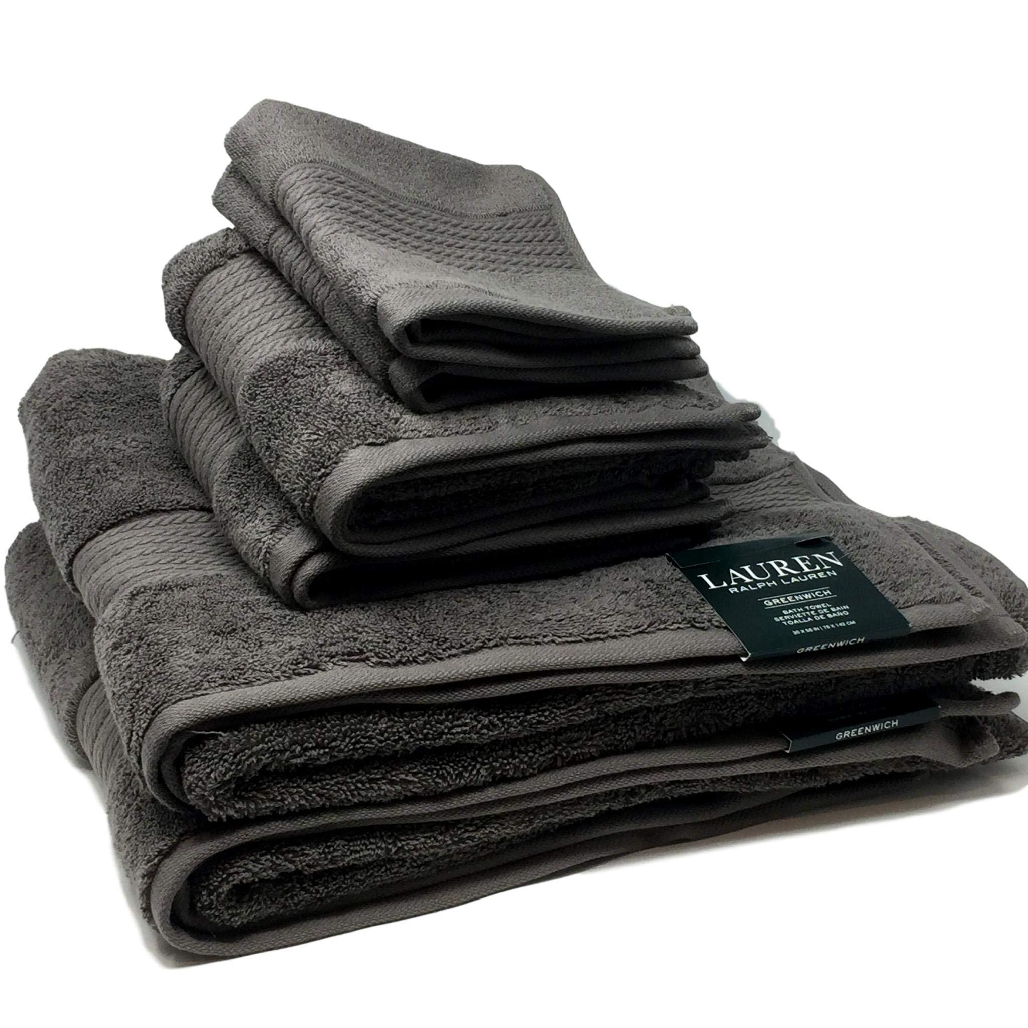 Lauren by Ralph Lauren Greenwich Pebble (Dark Gray) Towel Set - 2 Bath Towels, 2 Hand Towels and 2 Wash Cloths