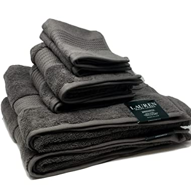 Lauren by Ralph Lauren Greenwich Pebble (Dark Gray) Towel Set - 2 Bath Towels, 2 Hand Towels and 2 Wash Cloths
