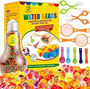 MAGICLUB Water Beads with Fine Motor Skills Toy Set,Non-Toxic Water Sensory Toy for Kids - 6 Oz Beads Growing Balls 2 Scoops and 7 Spoons for Early Skill Development,Tactile Toys,Vases, Plant