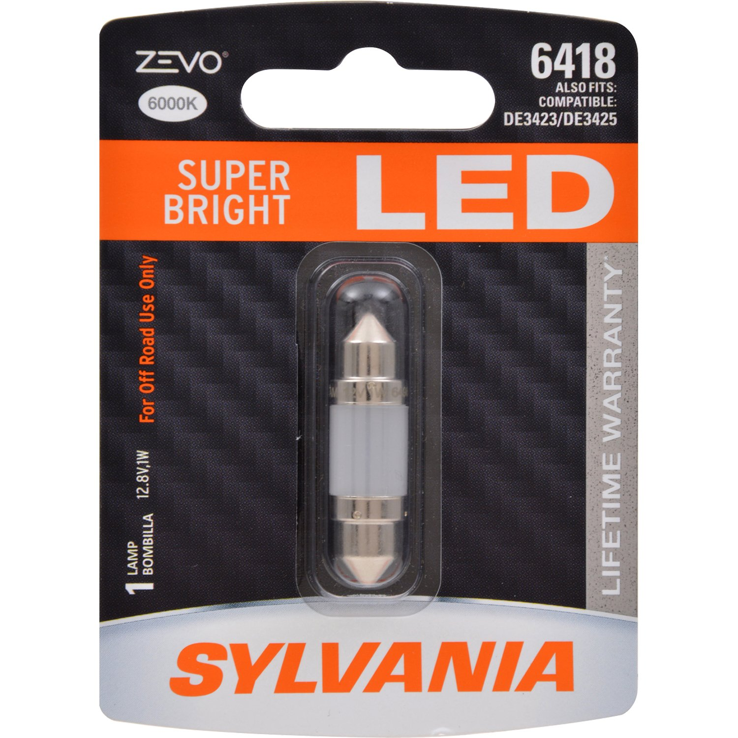 Trunk Bright LED Bulb Cargo and License Plate Domr Contains 1 Bulb Ideal for Interior Lighting 2825 T10 W5W ZEVO LED White Bulb Map SYLVANIA