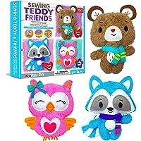KraFun Sewing Kit for Kids Age 7 8 9 10 11 12 Beginner My First Art & Craft, Includes 3 Stuffed Animal Dolls…