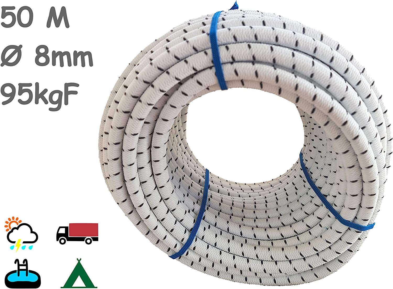 Gummiseil mit 8 mm Durchmesser Bootfahren 25 m // 50 m lang F/ür Angeln Camping /& Tarpaulin-Planen Werkstatt /& Garten F/ür Innen Magma Elastisches Seil K/üche Segeln Au/ßen