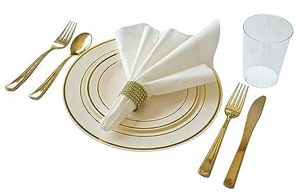 u0026quot; OCCASIONS u0026quot; Full set - Wedding Disposable Plastic Plates plastic silverware  sc 1 st  Amazon.com & Amazon.com: