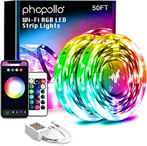 Phopollo Smart WiFi 50ft Led Lights Sync with Music, Compatible with Alexa and Google Home