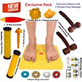 Super India Store Acupressure Mat with Magnets Pyramids for Pain Relief n Total Health + Health Products + 2 Wooden Face Massagers
