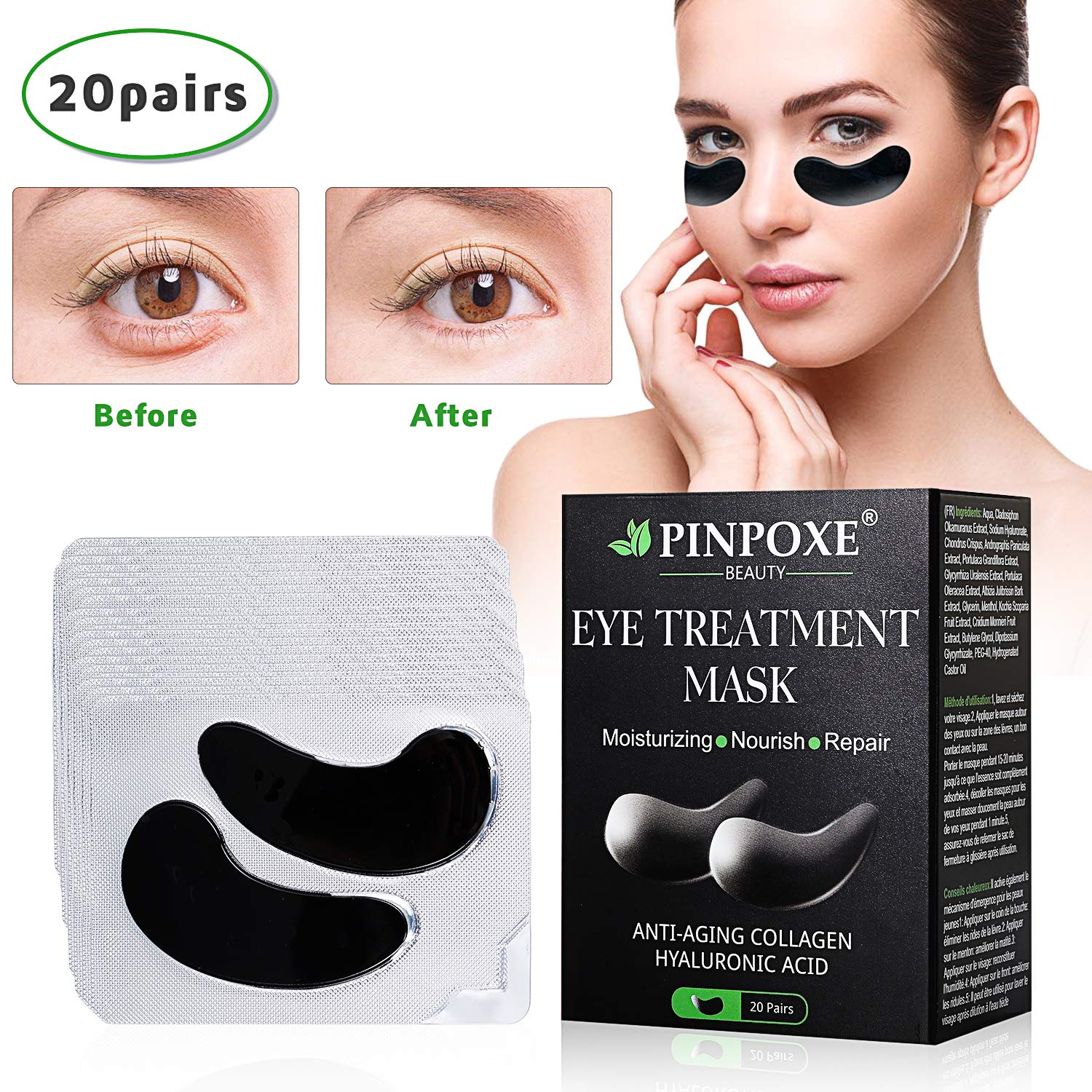 Under Eye Pads, Collagen Eye Mask, Eye Treatment Mask, Puffy Eyes, Eye Patches, Natural Eye Patches With Anti-aging and Wrinkle Care Properties/Help Reduce Dark Circles and Puffiness (20 Pairs) by BUOCEANS Official