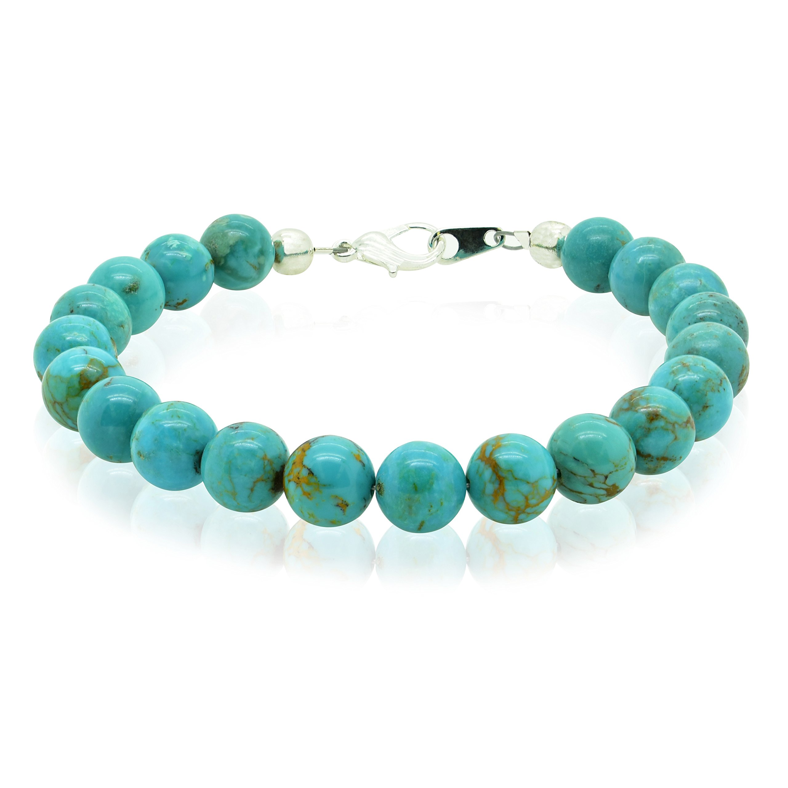 Bluejoy Jewelry Genuine Natural Turquoise Bracelet 8mm Perfect Round Beads with Lobster Clasp