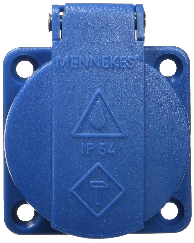 2P E Pole Mennekes 11011/Schuko Panneau mont/é sur douille sans Obturateur 3/Plug-in terminal Bleu 230/V courant de 16/A DE PROTECTION IP 54