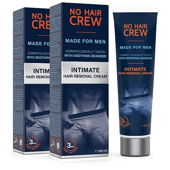 2 x NO HAIR CREW Crema Depilatoria Íntima Premium - Extra Suave Hecha Para Hombres - Conjunto de 2-200ml: Amazon.es: Belleza