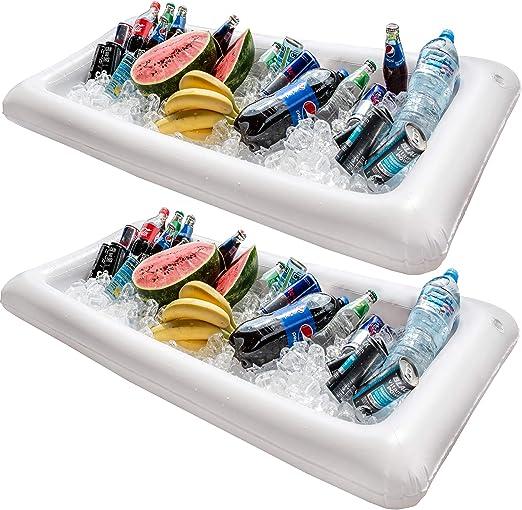 Barra hinchable para mesa de piscina, 2 unidades de bandeja grande ...