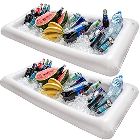 Barra hinchable para mesa de piscina, 2 unidades de bandeja grande para buffet con tapón
