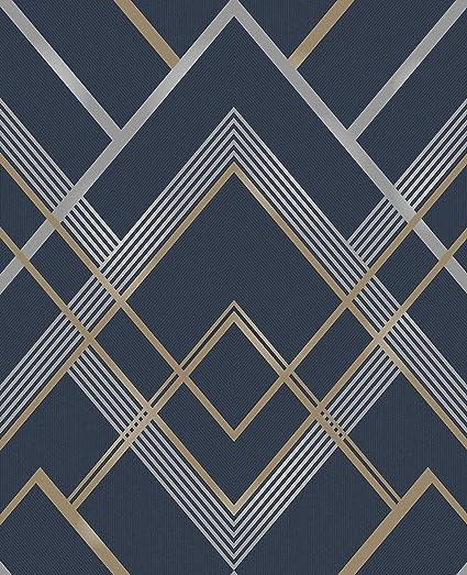 Brewster 2734 42457 Bradford Navy Geometric Wallpaper